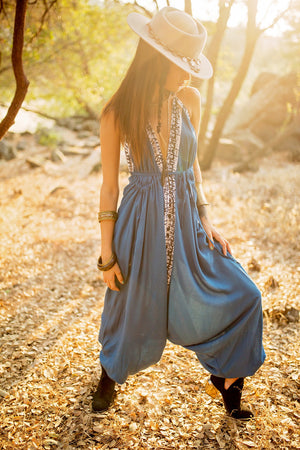 Indie Love Jumpsuit || Blue