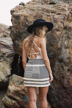 Lynx Mini Skirt || Sand Fringe