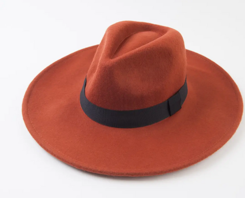 RUST WOOL FEDORA