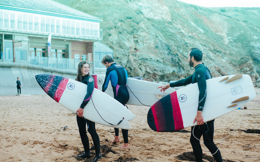 Mackie Surfboards on Watergate Bay Beach