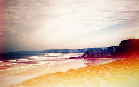Light leaked, cross-processed capture of Watergate Bay for Another Place Magazine