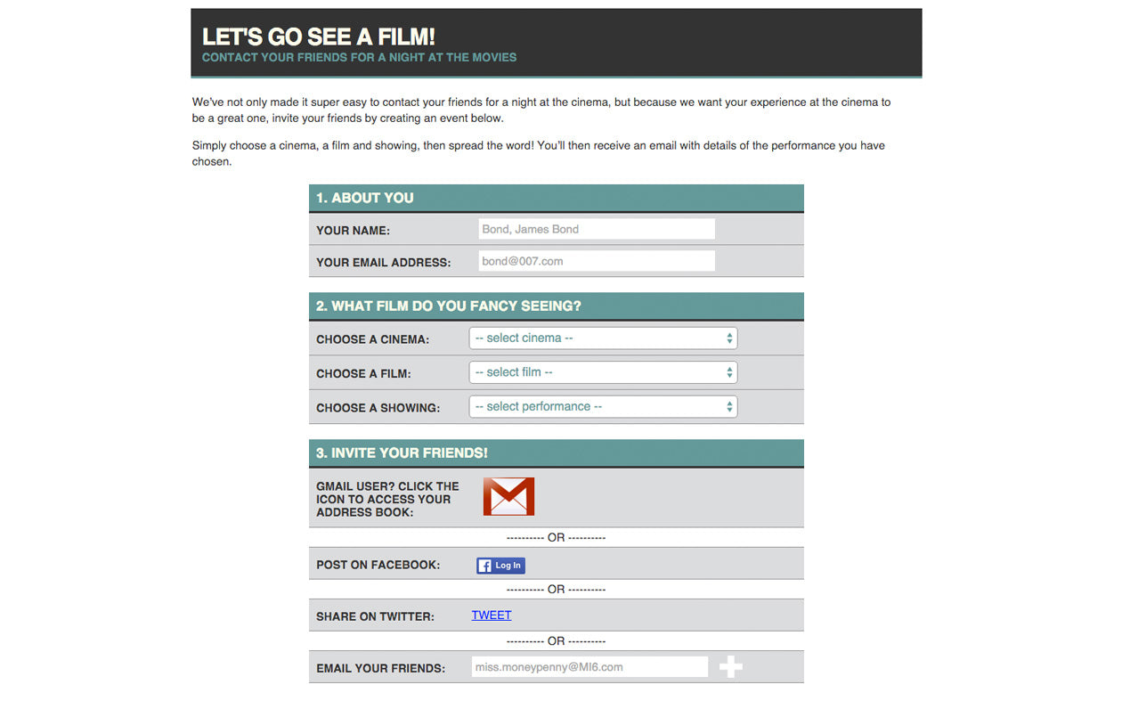 WTW Cinemas promotional booking tool