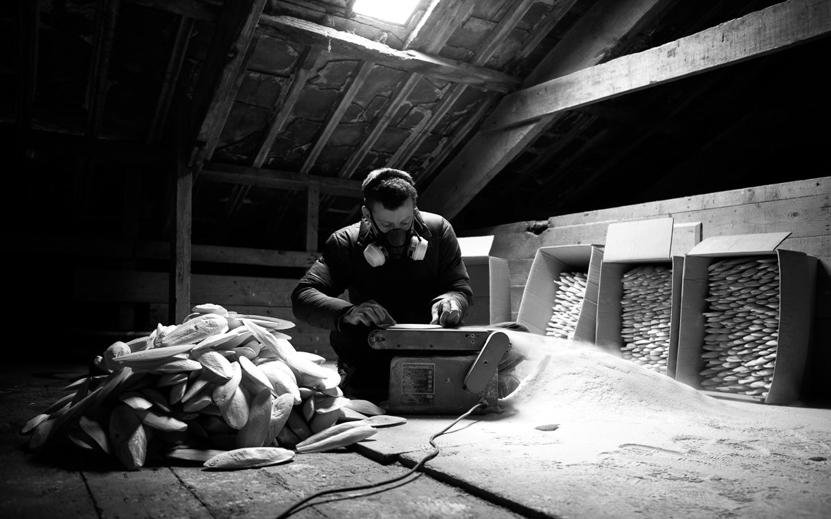 Alastair Mackie in his barn workshop