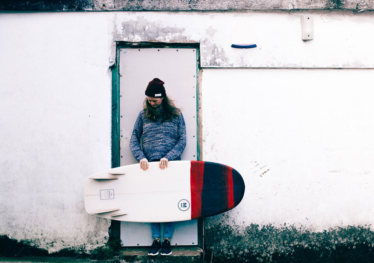 Holly Donnelly with a Mackie Surfboard