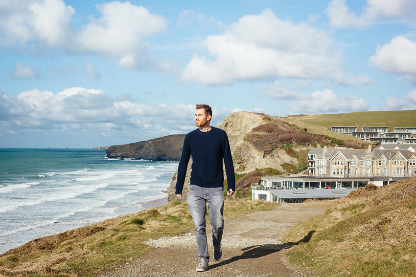 Model at Watergate Bay | Karl Mackie Photographer | Old Harry Knitwear | Newquay, Cornwall