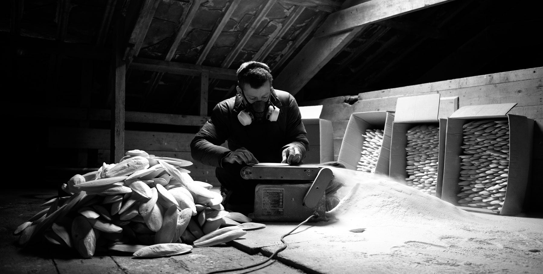 Alastair Mackie working in his Barn