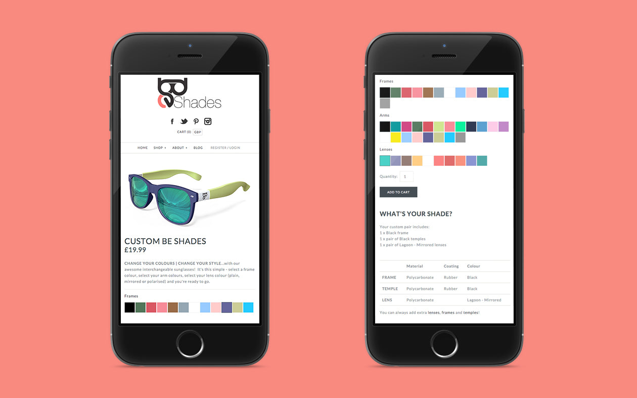 Mobile UI and UX of the Be Shades Website