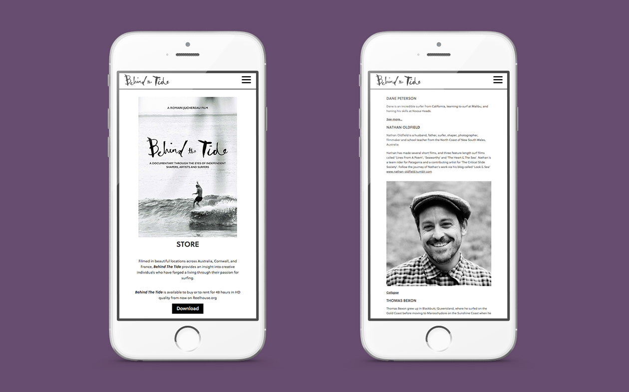 Mobile UI of the surf film Behind the Tide