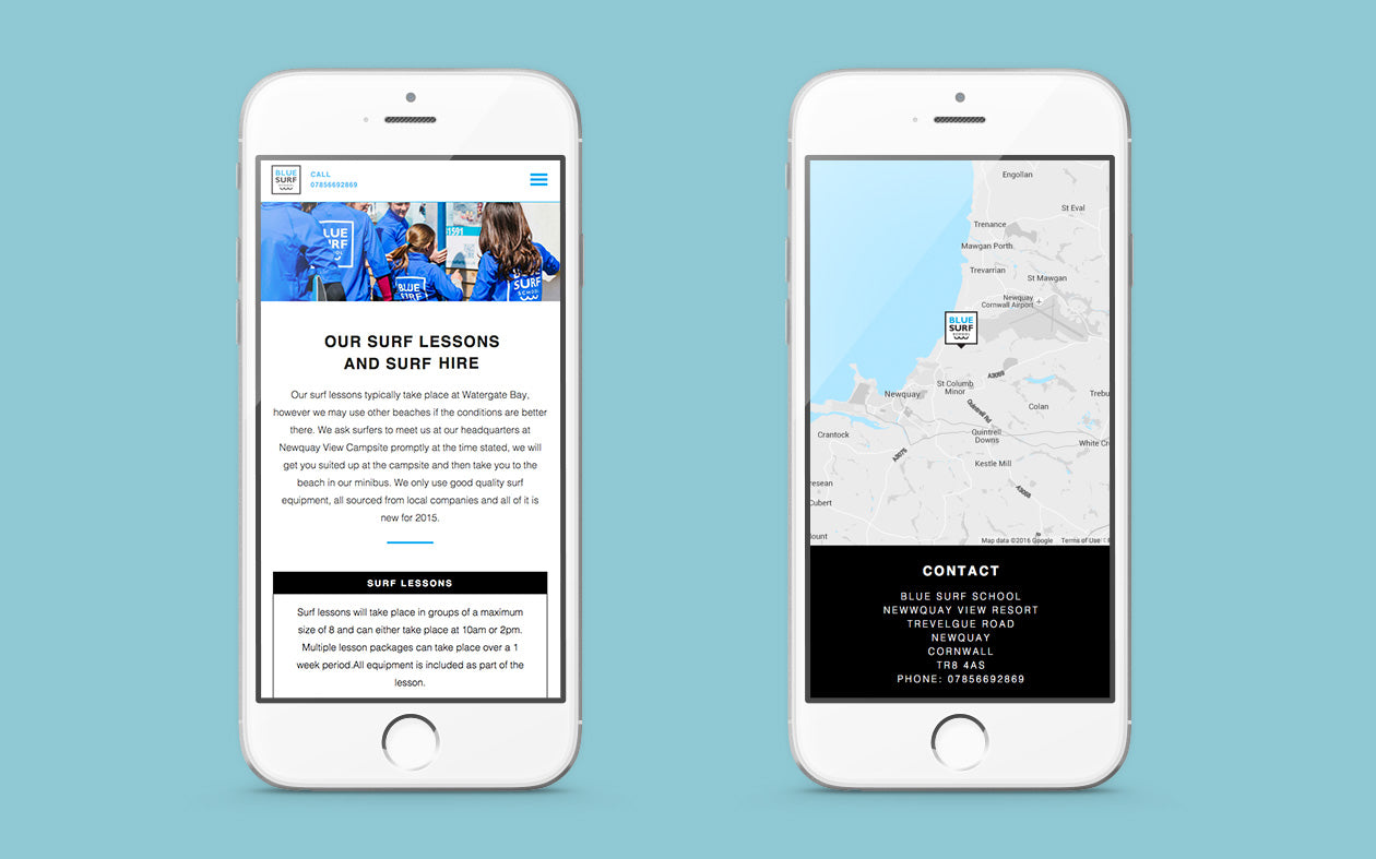 Mobile view of Blue Surf School Website