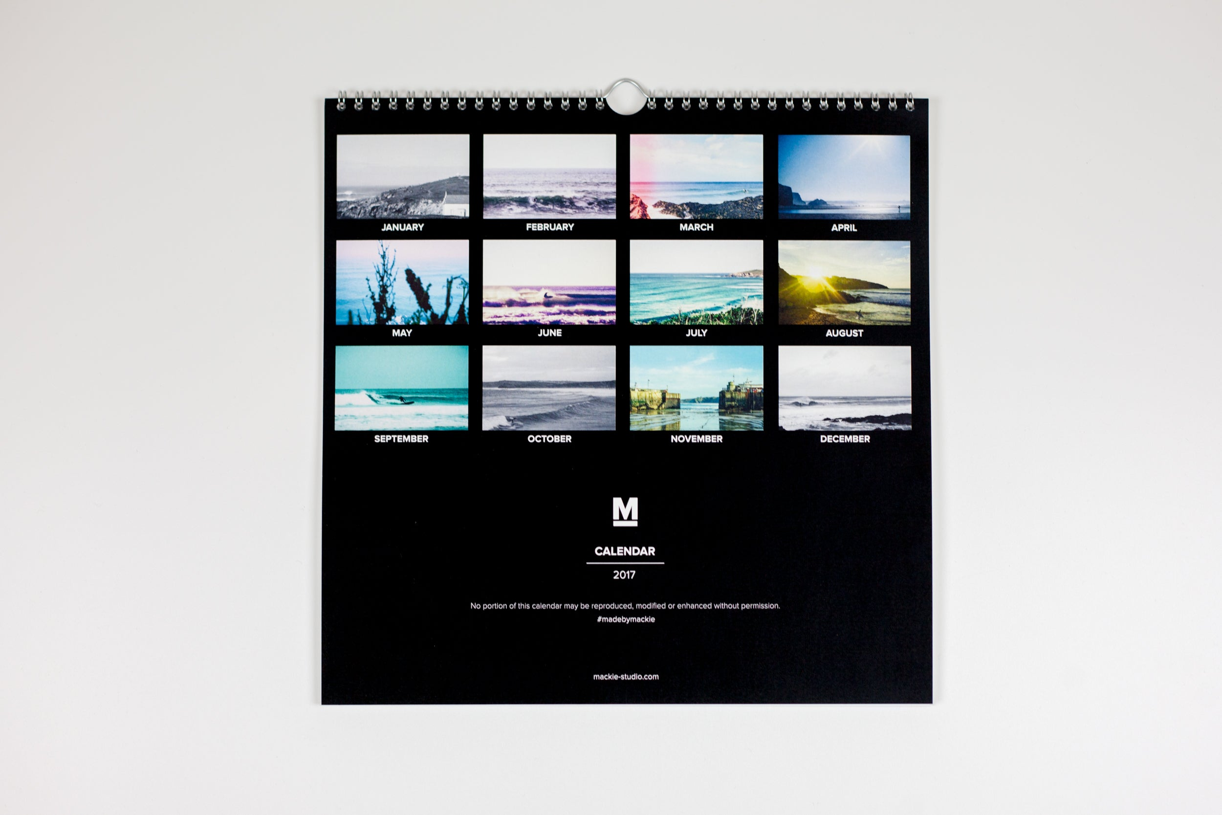 Mackie 2017 Newquay Calendar - Back cover graphic design