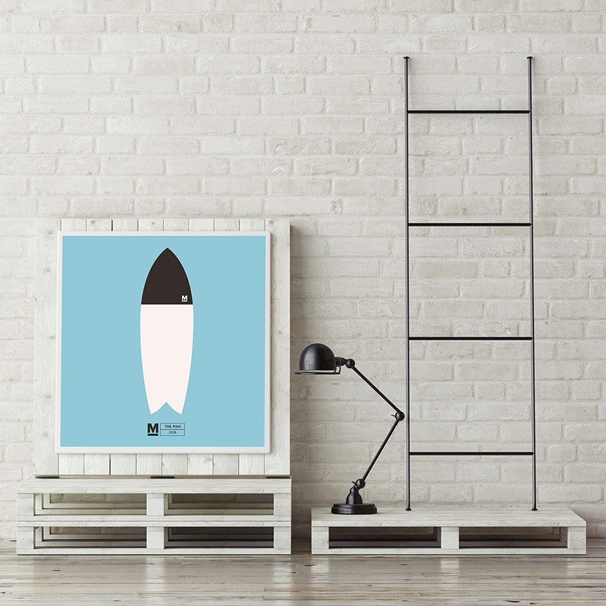 The Mackie Fish surfboard inspired square print