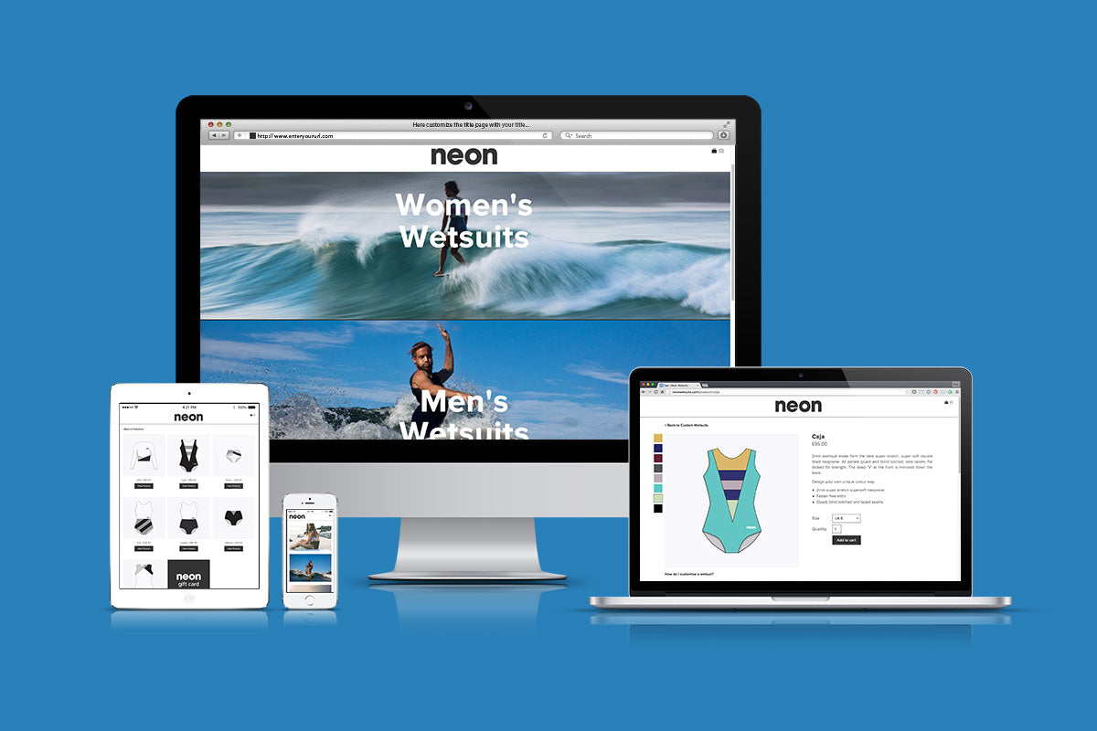 Neon Wetsuits website design by Mackie Studio