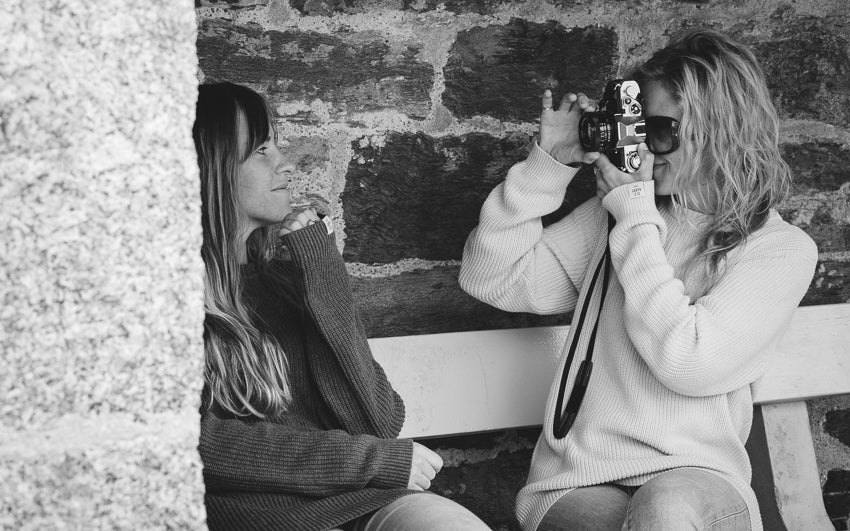 Models shooting on a vintage camera | Karl Mackie Photographer | Old Harry Knitwear | Newquay, Cornwall