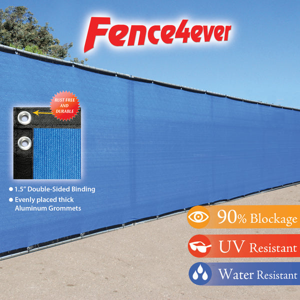 Blue 5'x50' Fence Screen 90% visibility blockage (aluminum grommets) FREE SHIPPING / FREE ZIP TIES