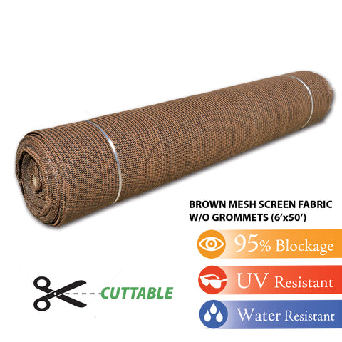 Brown 6'x50' Shade Cloth Fabric Roll Windscreen Privacy Screen Sun Cover UV Block (with out grommets) FREE SHIPPING