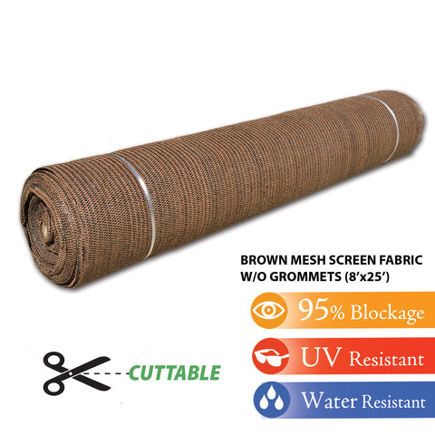 Brown 8'x25' Shade Cloth Fabric Roll Windscreen Privacy Screen Sun Cover UV Block (with out grommets) FREE SHIPPING