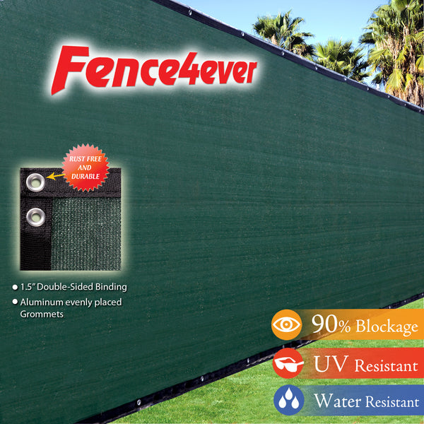 Dark Green Olive 8'x50' Fence Screen 90% visibility blockage (aluminum grommets) FREE SHIPPING / FREE ZIP TIES