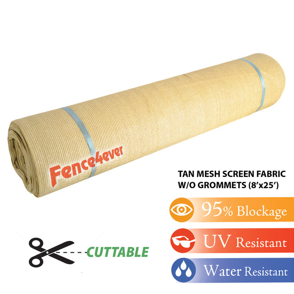 Tan Beige 8'x25' Shade Cloth Fabric Roll Windscreen Privacy Screen Sun Cover UV Block (with out grommets) FREE SHIPPING
