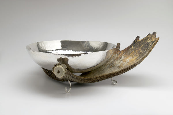 Silver Bowl with Moose Antler Stand