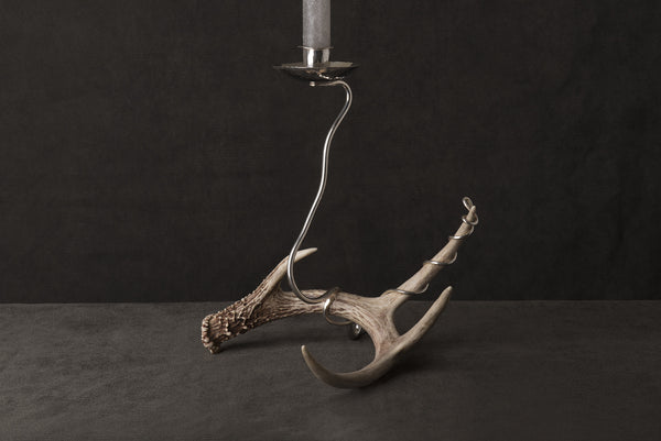 Silver Candlestick with Antler