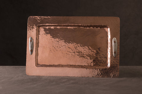 Copper Rectangular Tray with Antler Handles