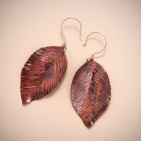 Copper Black Cherry Leaf Earrings