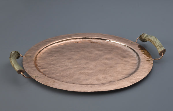 Copper Round Tray with Burr Handles