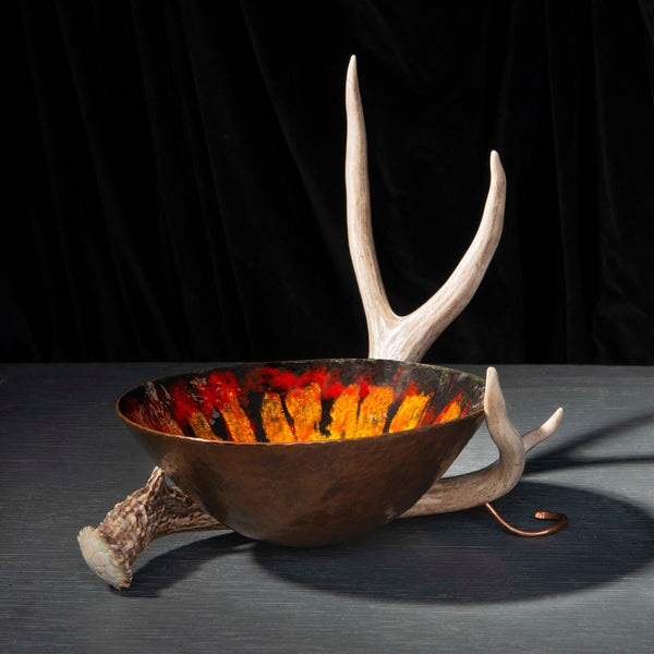 Copper Enameled Bowl with Antler Stand