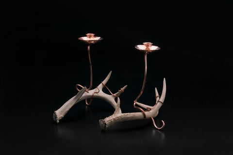 Copper Candelabra with Antlers