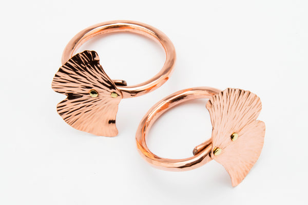 Copper Ginkgo Leaf Napkin Ring