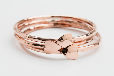 Copper Heart Bangle Bracelet