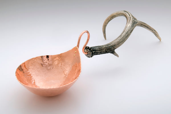 Copper Nut Bowl with Antler Handle