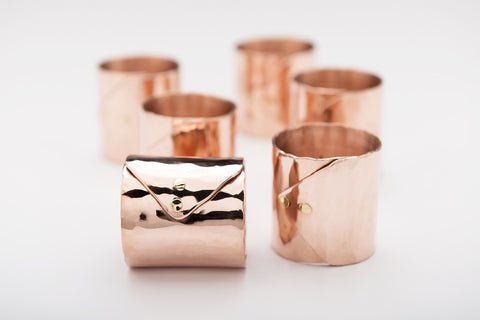 Copper Folded Envelope Napkin Ring