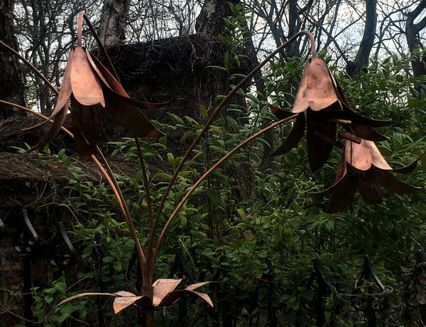 Copper Lily Sculpture
