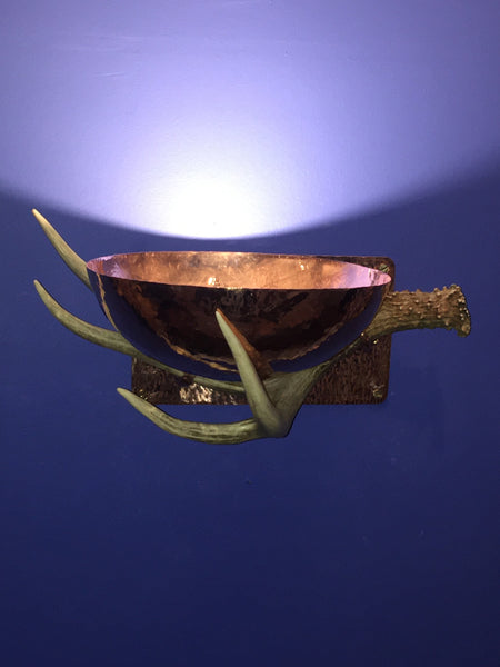 "Copper 12"" Antler Wall Sconce"
