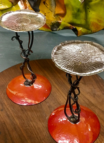 Custom Pillar Candlestick with Enamel base and Sterling Silver Lotus Flower