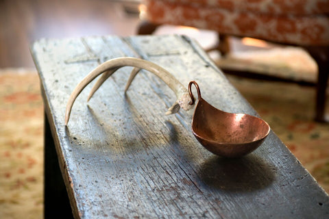 Copper Nut Bowl with Antler Stand