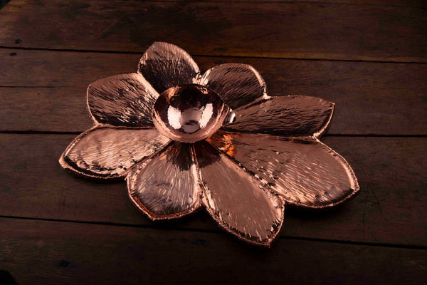 Copper Vegetable Flower Tray with Bowl