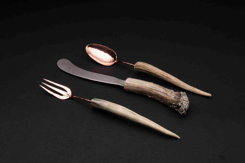 Copper Flatware Set with Antler