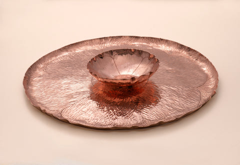 Copper Lotus Flower Tray and Bowl Set