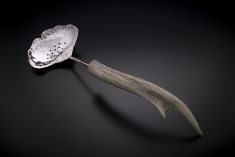 Silver Ginkgo Large Pierced Spoon