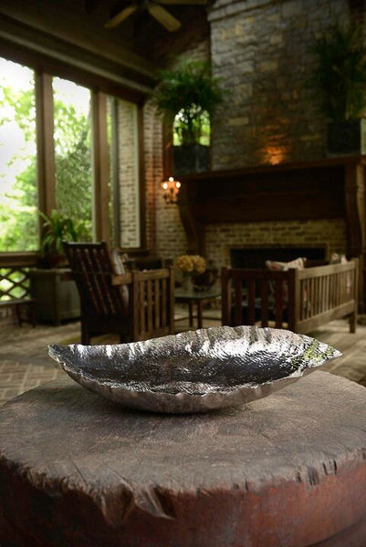 Silver Banana Leaf Bowl