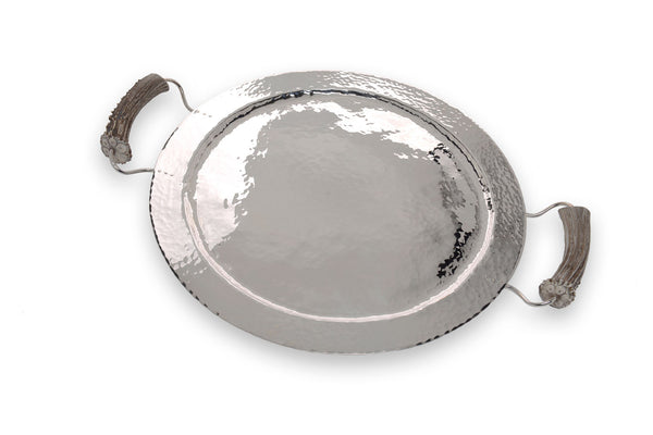 Silver Round Tray with Burr Handles
