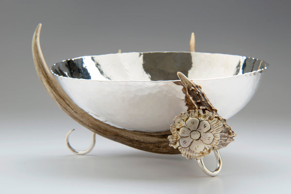 Silver Bowl with Antler Stand