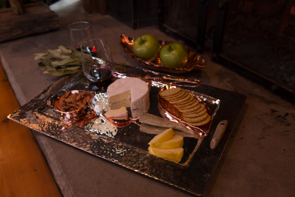 Silver Rectangular Tray with Antler Handles