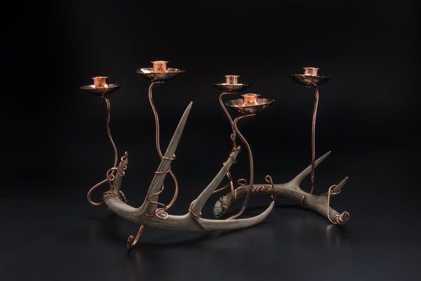 Copper Candlestick with Antler