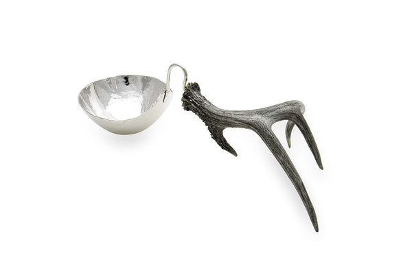 Silver Nut Bowl with Antler Stand