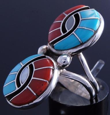 Size 5-1/2 Silver Turquoise Coral Zuni Inlay Double Hummingbird Ring Amy 7H13R