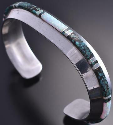 Vintage Silver & Turquoise & Opal Navajo Inlay Bracelet by WG 9A11C