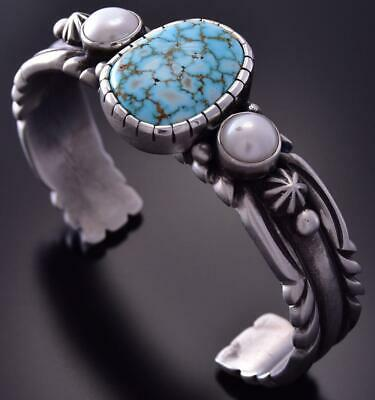 Silver & #8 Spiderweb Turquoise & Fresh Pearl Concho Bracelet Erick Begay ZC27R